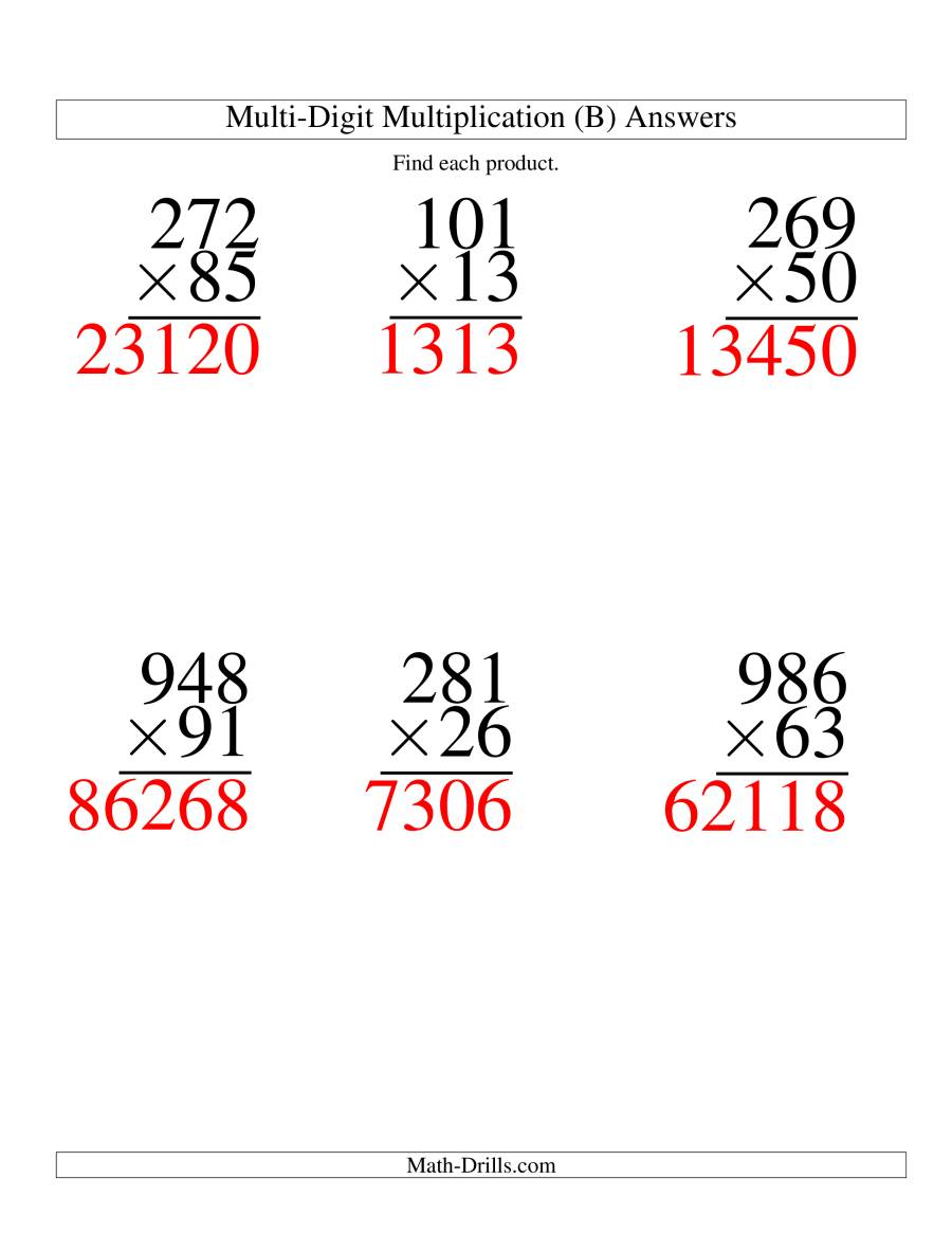 The Multiplying Three-Digit by Two-Digit -- 6 per page (B) Math Worksheet Page 2