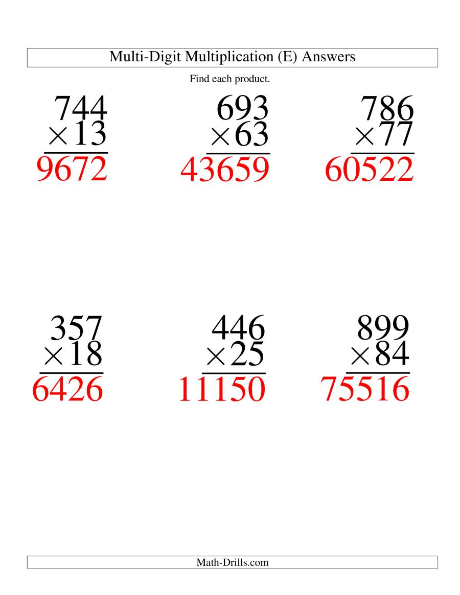The Multiplying Three-Digit by Two-Digit -- 6 per page (E) Math Worksheet Page 2