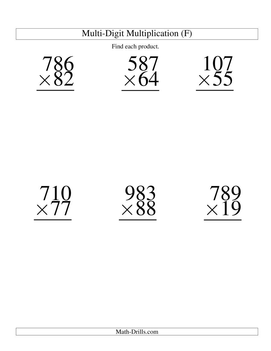 The Multiplying Three-Digit by Two-Digit -- 6 per page (F) Math Worksheet