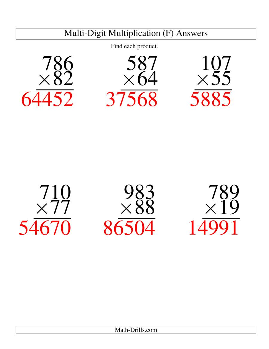 The Multiplying Three-Digit by Two-Digit -- 6 per page (F) Math Worksheet Page 2