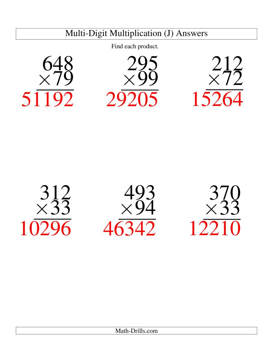 The Multiplying Three-Digit by Two-Digit -- 6 per page (J) Math Worksheet Page 2