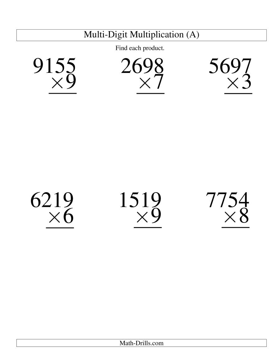 The Multiplying Four-Digit by One-Digit -- 6 per page (A) Math Worksheet