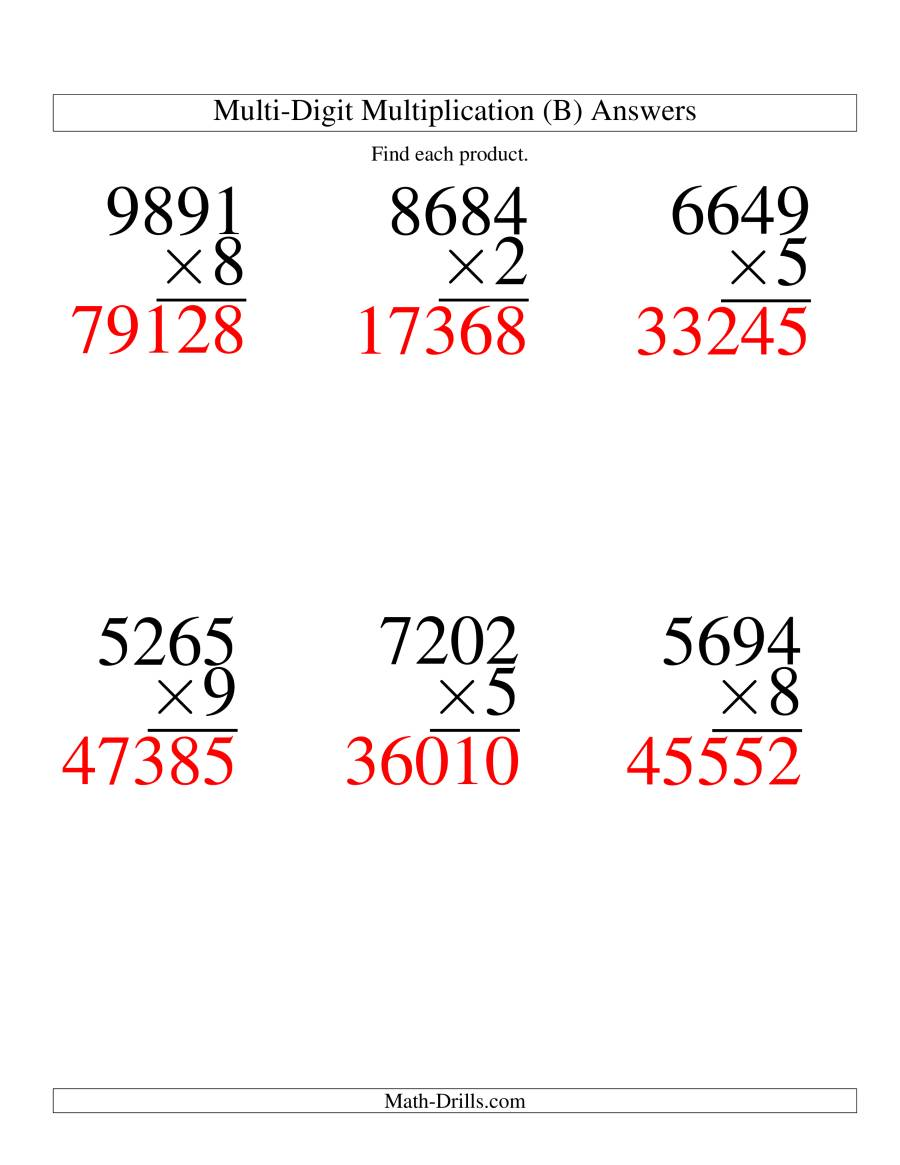 The Multiplying Four-Digit by One-Digit -- 6 per page (B) Math Worksheet Page 2