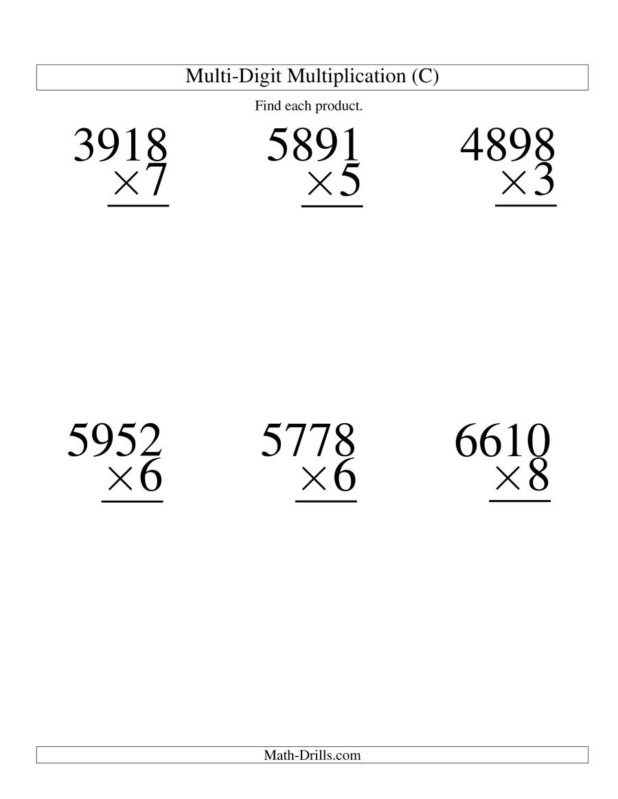 The Multiplying Four-Digit by One-Digit -- 6 per page (C) Math Worksheet