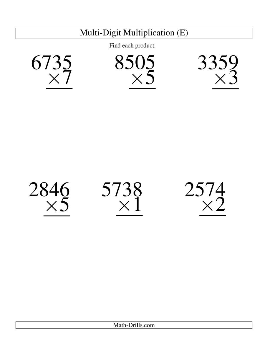 The Multiplying Four-Digit by One-Digit -- 6 per page (E) Math Worksheet