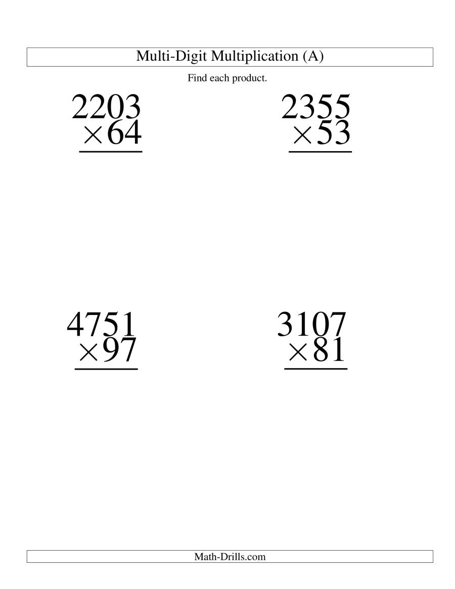 The Multiplying Four-Digit by Two-Digit -- 4 per page (A) Math Worksheet