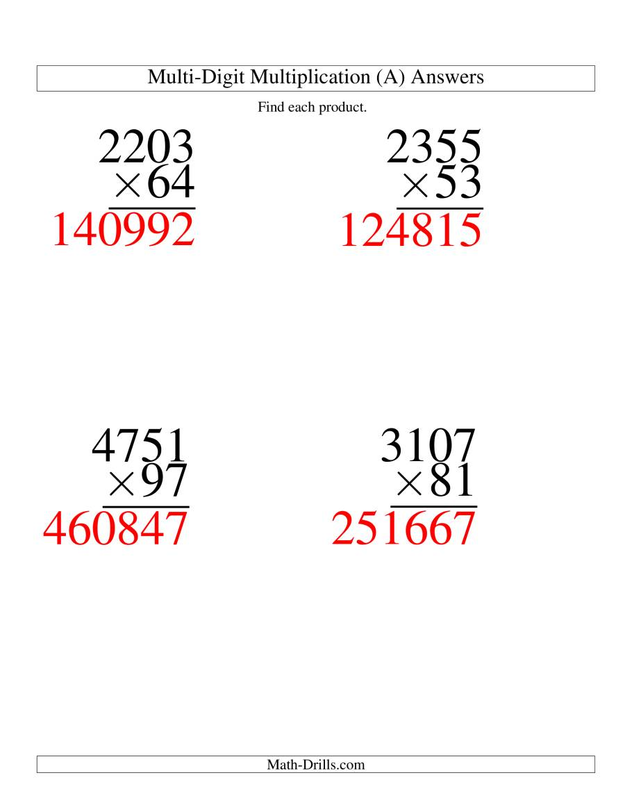 The Multiplying Four-Digit by Two-Digit -- 4 per page (A) Math Worksheet Page 2