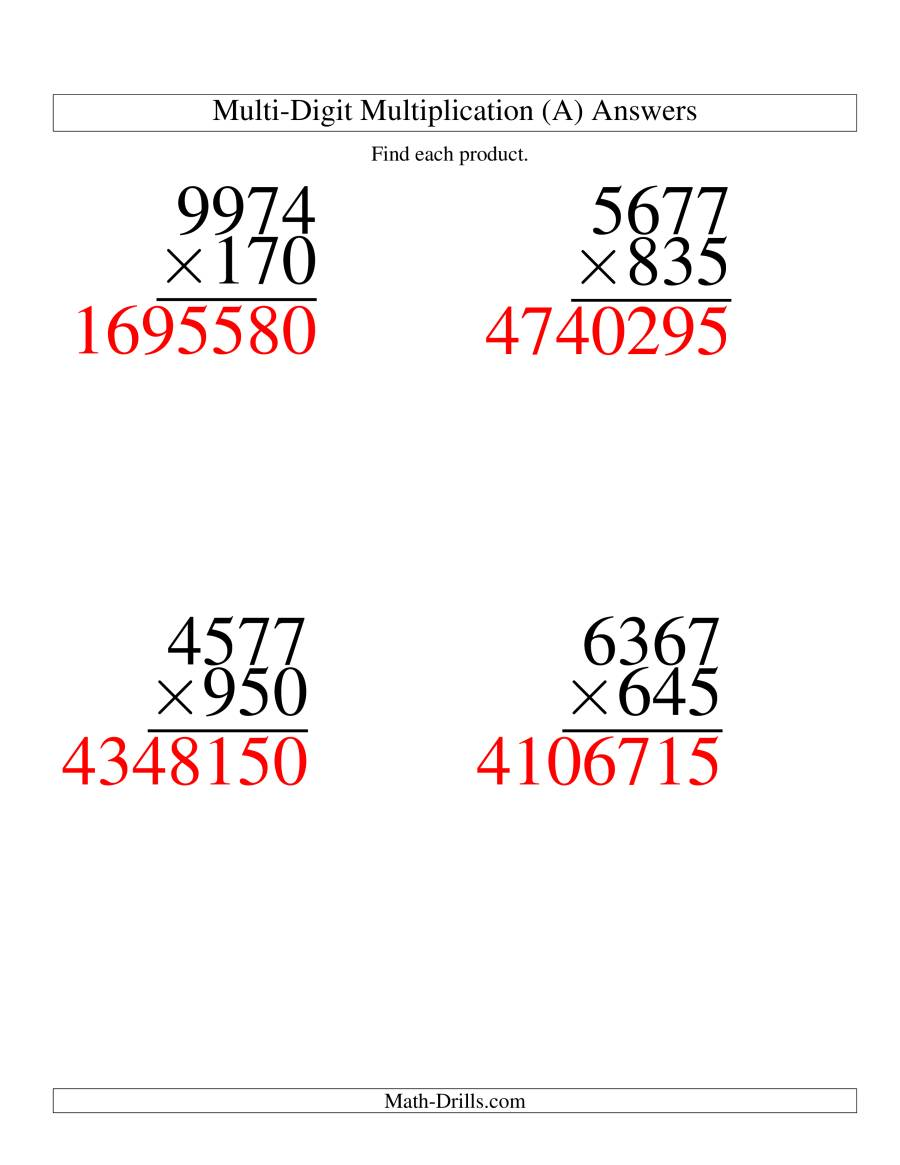 The Multiplying Four-Digit by Three-Digit -- 4 per page (A) Math Worksheet Page 2