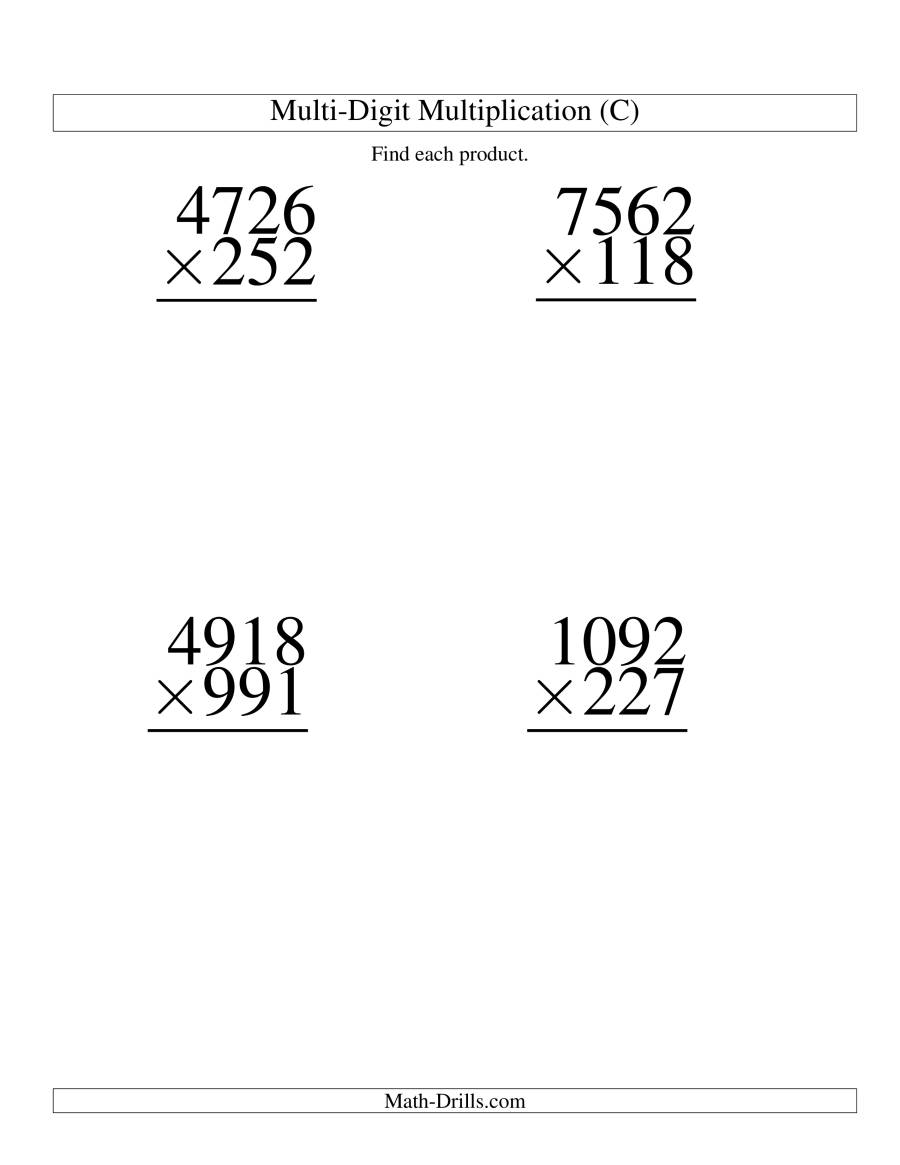 The Multiplying Four-Digit by Three-Digit -- 4 per page (C) Math Worksheet