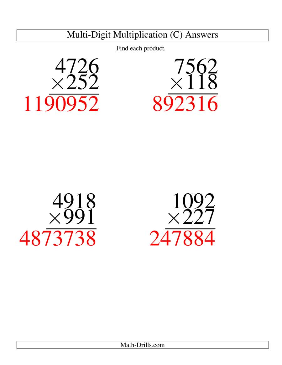 The Multiplying Four-Digit by Three-Digit -- 4 per page (C) Math Worksheet Page 2