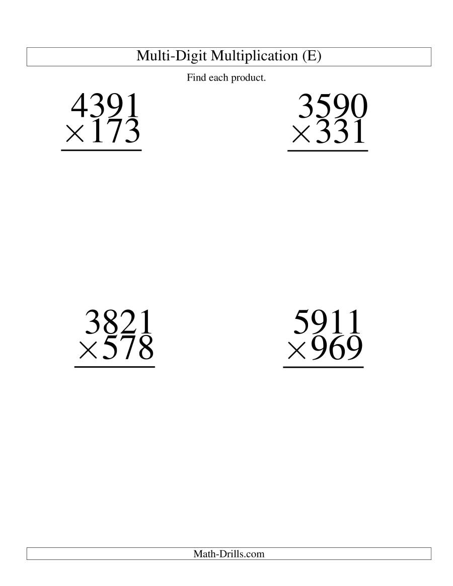 The Multiplying Four-Digit by Three-Digit -- 4 per page (E) Math Worksheet