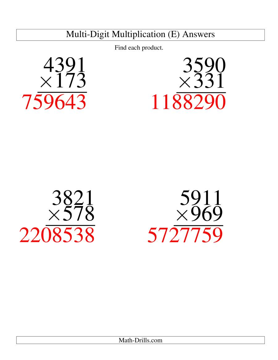 The Multiplying Four-Digit by Three-Digit -- 4 per page (E) Math Worksheet Page 2
