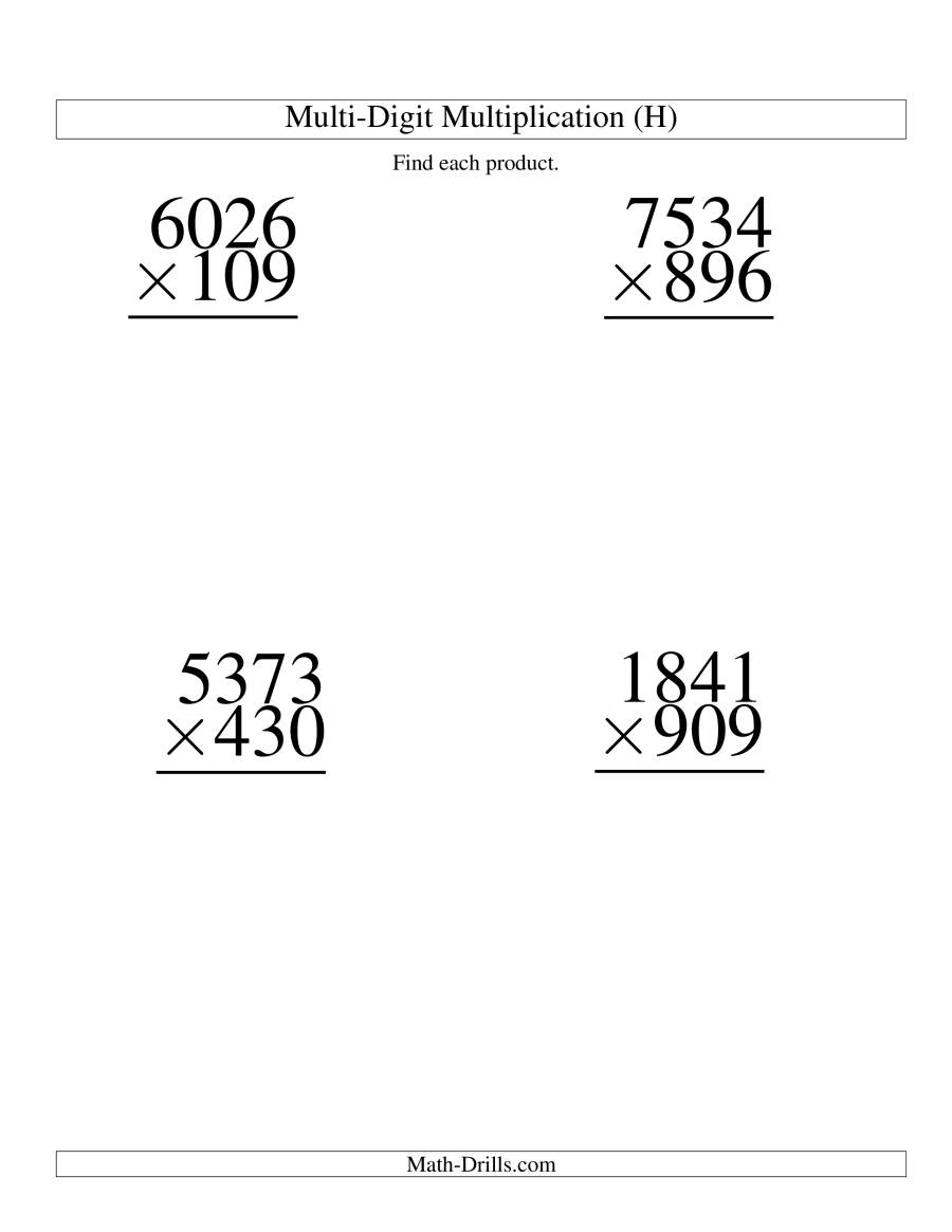The Multiplying Four-Digit by Three-Digit -- 4 per page (H) Math Worksheet