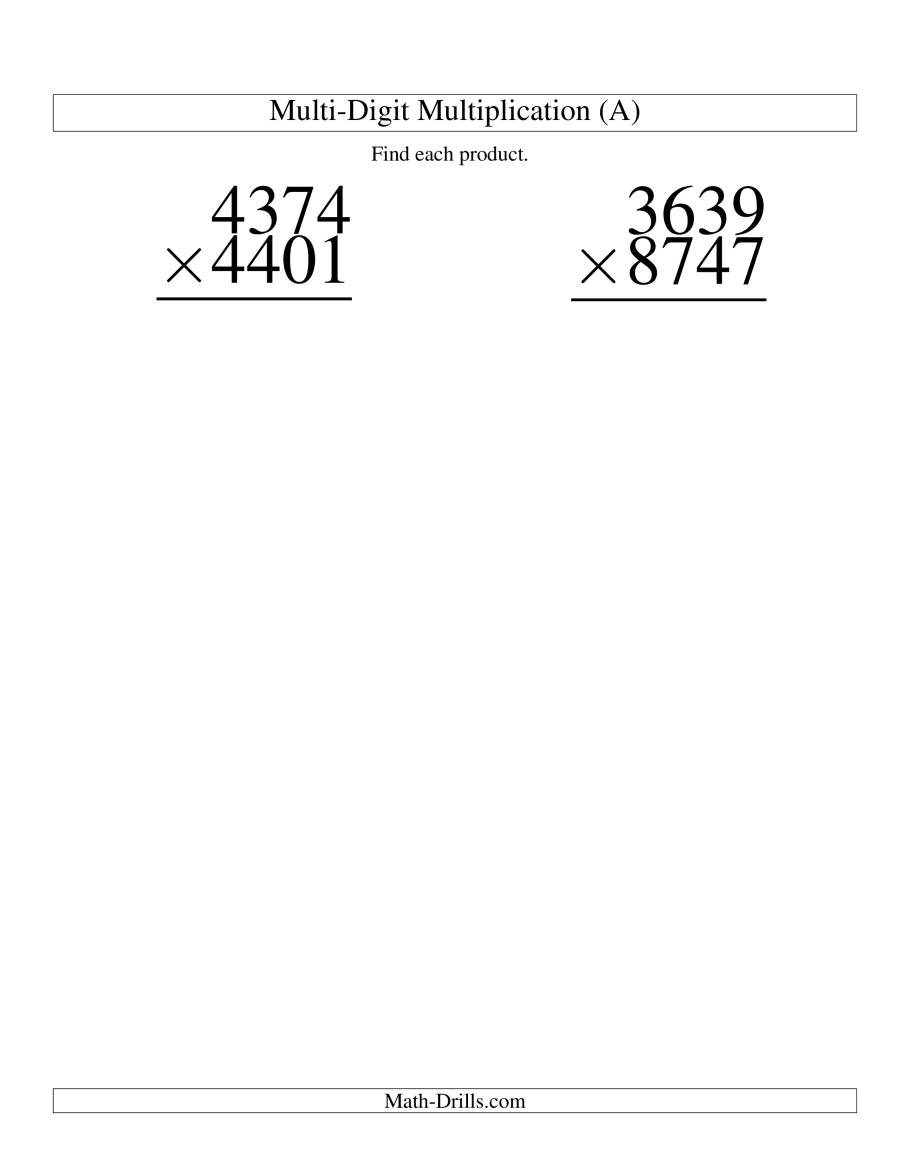 The Multiplying Four-Digit by Four-Digit -- 2 per page (A) Math Worksheet