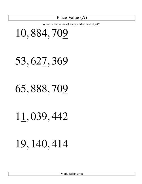 The Place Values (ones to ten millions; U.S. format; Large Print) (A) Math Worksheet
