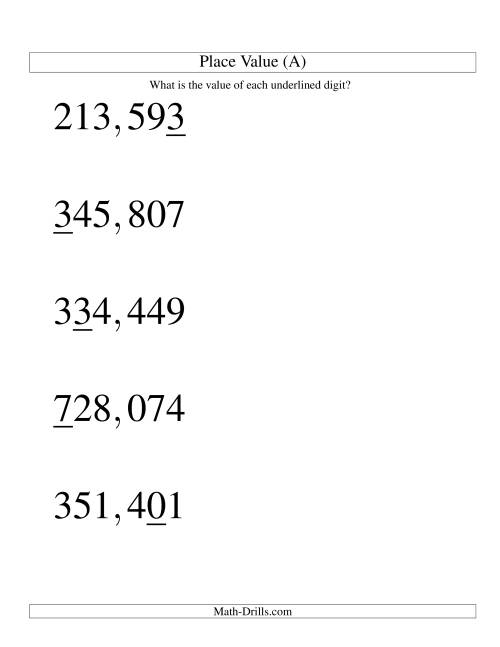 The Place Values (ones to hundred thousands; U.S. format; Large Print) (A) Math Worksheet