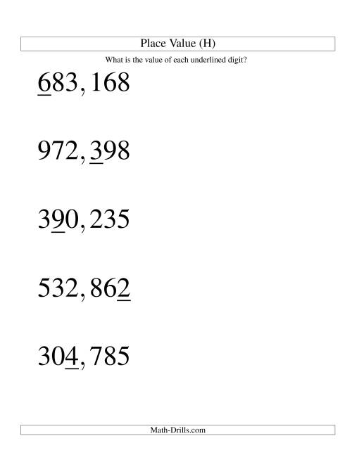 The Place Values (ones to hundred thousands; U.S. format; Large Print) (H) Math Worksheet