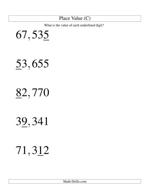 The Place Values (ones to ten thousands; U.S. format; Large Print) (C) Math Worksheet
