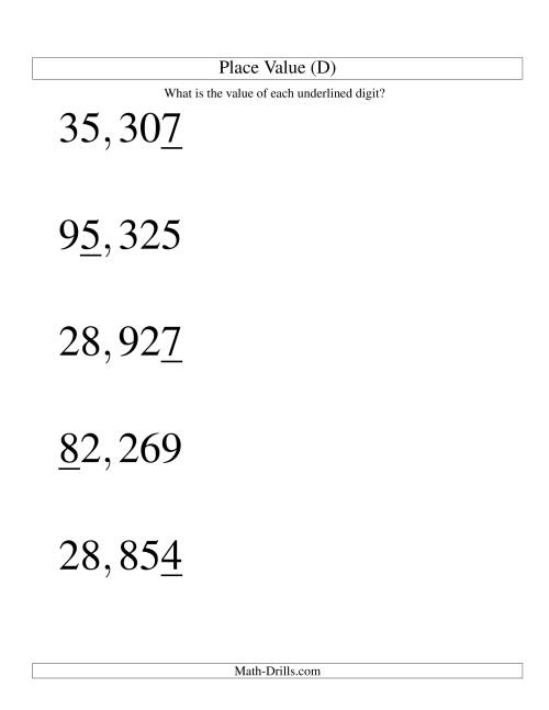 The Place Values (ones to ten thousands; U.S. format; Large Print) (D) Math Worksheet