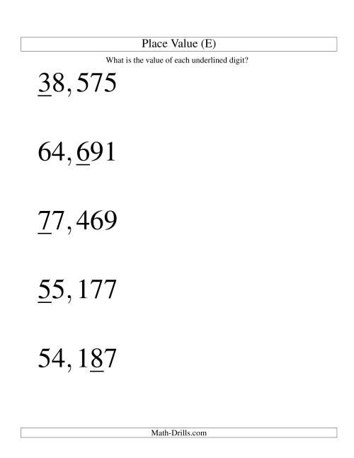 The Place Values (ones to ten thousands; U.S. format; Large Print) (E) Math Worksheet
