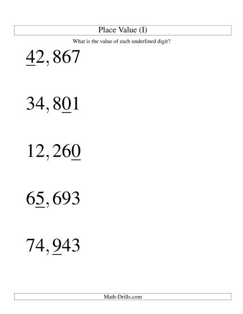 The Place Values (ones to ten thousands; U.S. format; Large Print) (I) Math Worksheet