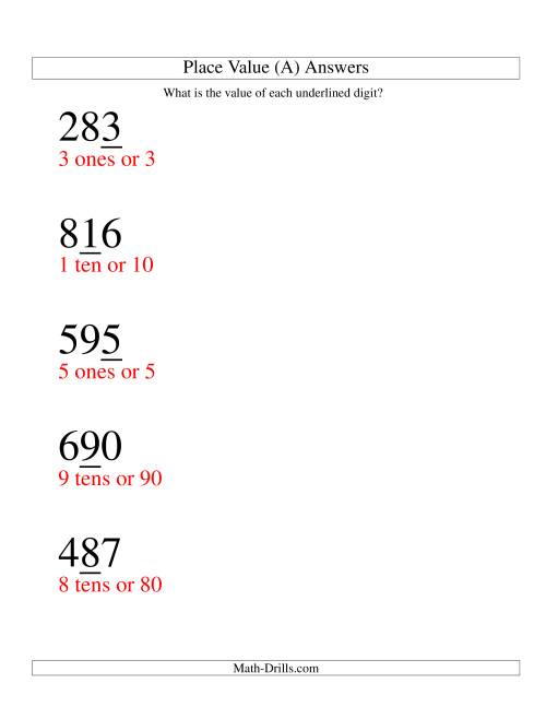 The Place Values (ones to hundreds; large print) (A) Math Worksheet Page 2