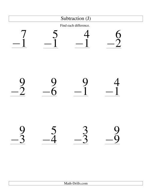 The One-Digit Minus One-Digit Subtraction -- Large Print (J) Math Worksheet