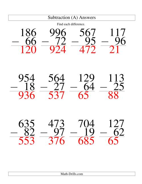 The Three-Digit Minus Two-Digit Subtraction -- Large Print (A) Math Worksheet Page 2