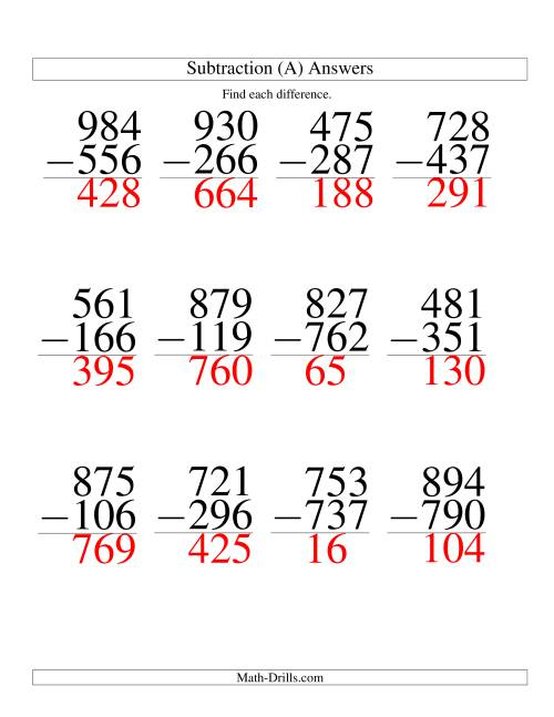 The Three-Digit Minus Three-Digit Subtraction -- Large Print (A) Math Worksheet Page 2