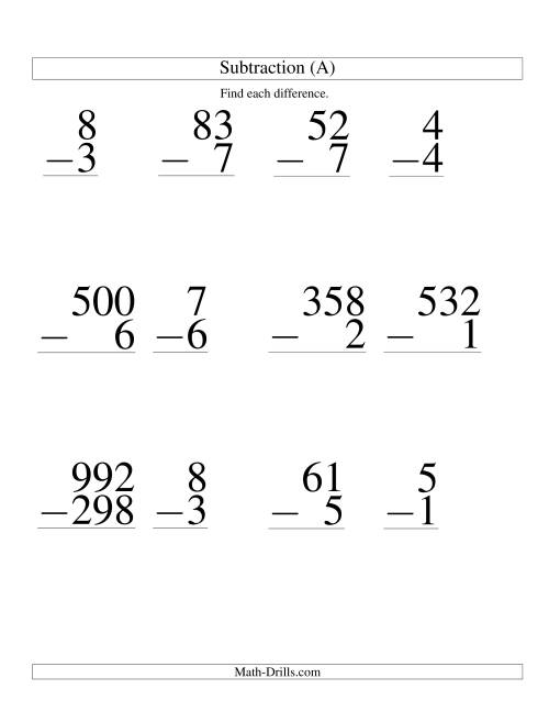 VariousDigit Subtraction Large Print A Large Print Math – Math Worksheet Print