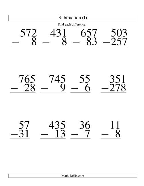 various digit subtraction large print i large print math worksheet. Black Bedroom Furniture Sets. Home Design Ideas