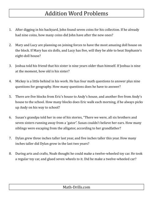 The Single-Step Addition Word Problems Using Single-Digit Numbers (A) Word Problems Worksheet