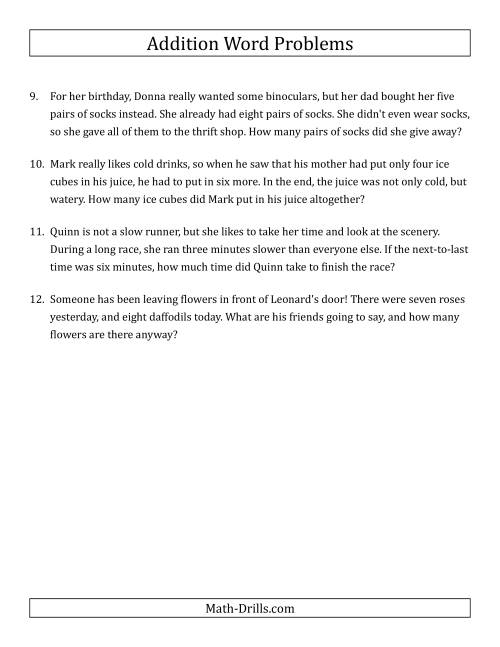 The Single-Step Addition Word Problems Using Single-Digit Numbers (A) Math Worksheet Page 2