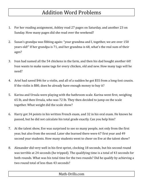 The Single-Step Addition Word Problems Using Two-Digit Numbers (A) Word Problems Worksheet