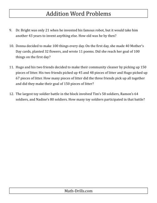 The Single-Step Addition Word Problems Using Two-Digit Numbers (A) Math Worksheet Page 2