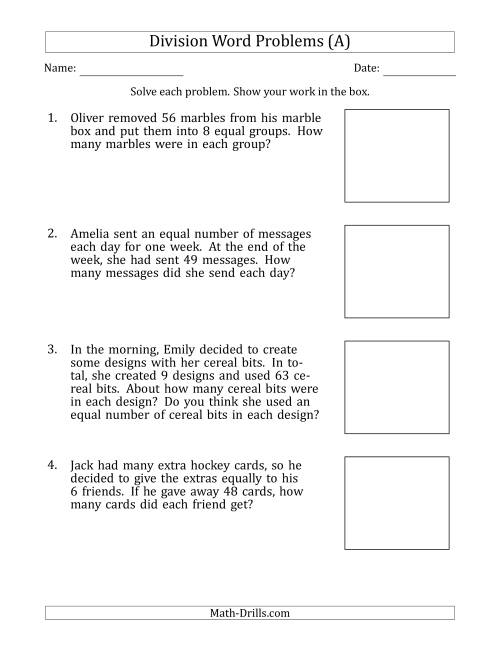 Worksheet Division Math Word Problems division word problems with facts from 5 to 12 a