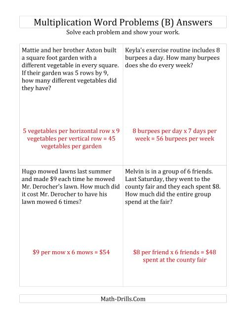 The Single-Step Multiplication Word Problems up to 10 x 10 (B) Math Worksheet Page 2
