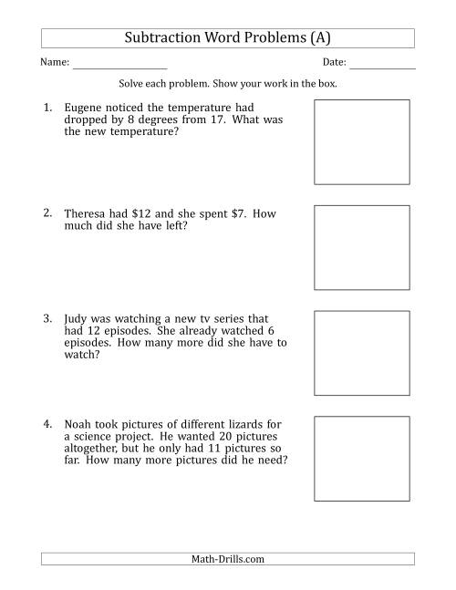 The Subtraction Word Problems with Subtraction Facts from 5 to 12 (A) Math Worksheet