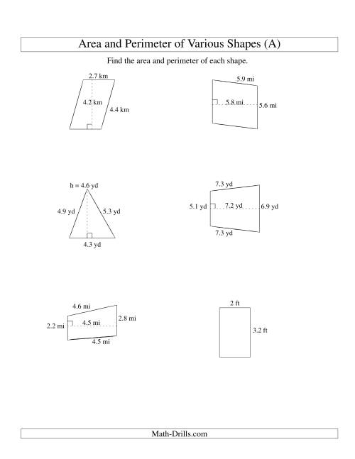 The Area and Perimeter of Various Shapes (up to 1 decimal place; range 1-9) (A) Measurement Worksheet
