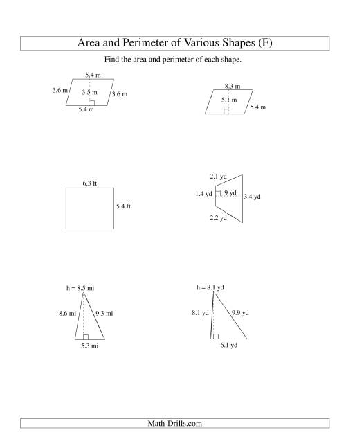 The Area and Perimeter of Various Shapes (up to 1 decimal place; range 1-9) (F) Math Worksheet