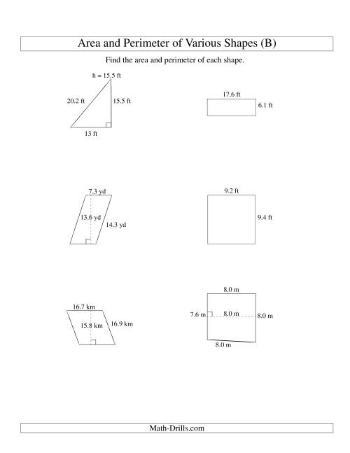 The Area and Perimeter of Various Shapes (up to 1 decimal place; range 5-20) (B) Math Worksheet