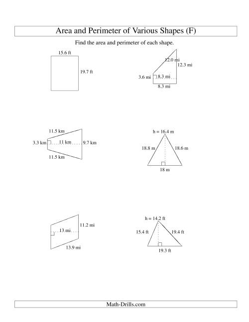 The Area and Perimeter of Various Shapes (up to 1 decimal place; range 5-20) (F) Math Worksheet