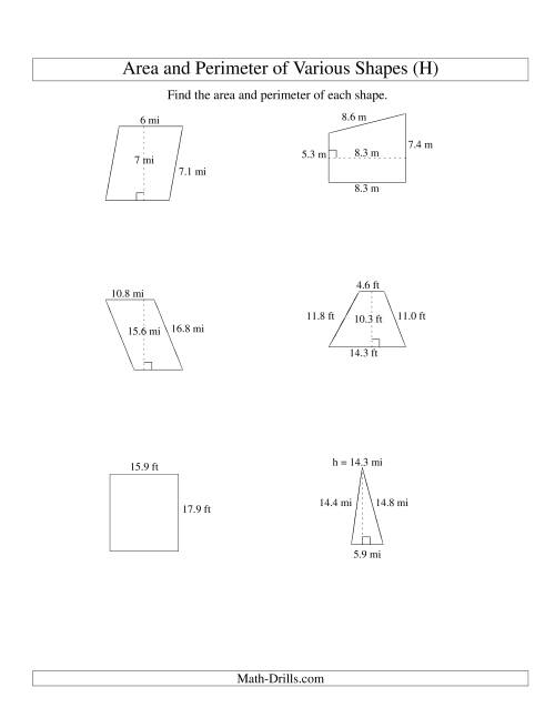 The Area and Perimeter of Various Shapes (up to 1 decimal place; range 5-20) (H) Math Worksheet