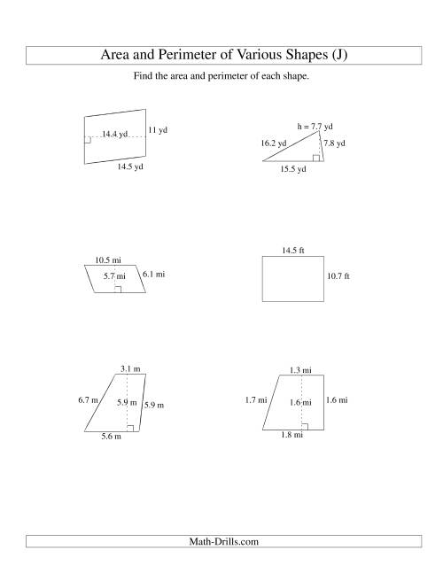 The Area and Perimeter of Various Shapes (up to 1 decimal place; range 5-20) (J) Math Worksheet