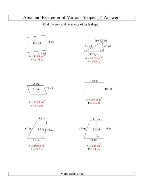The Area and Perimeter of Various Shapes (up to 1 decimal place; range 5-20) (J) Math Worksheet Page 2