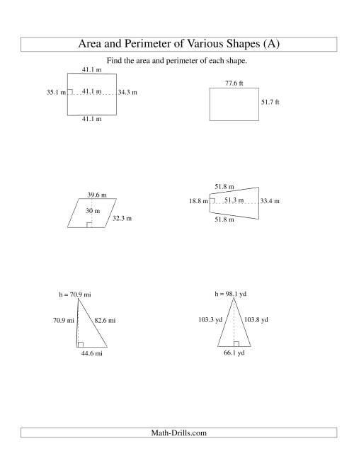 The Area and Perimeter of Various Shapes (up to 1 decimal place; range 10-99) (A) Math Worksheet