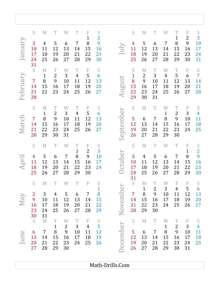 Yearly Calendar Beginning on Friday, January 1 (F)