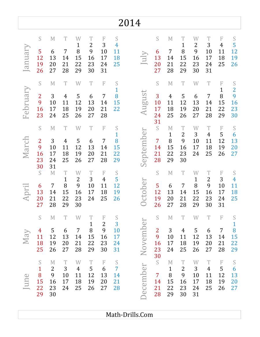 2014 Yearly Calendar (A)