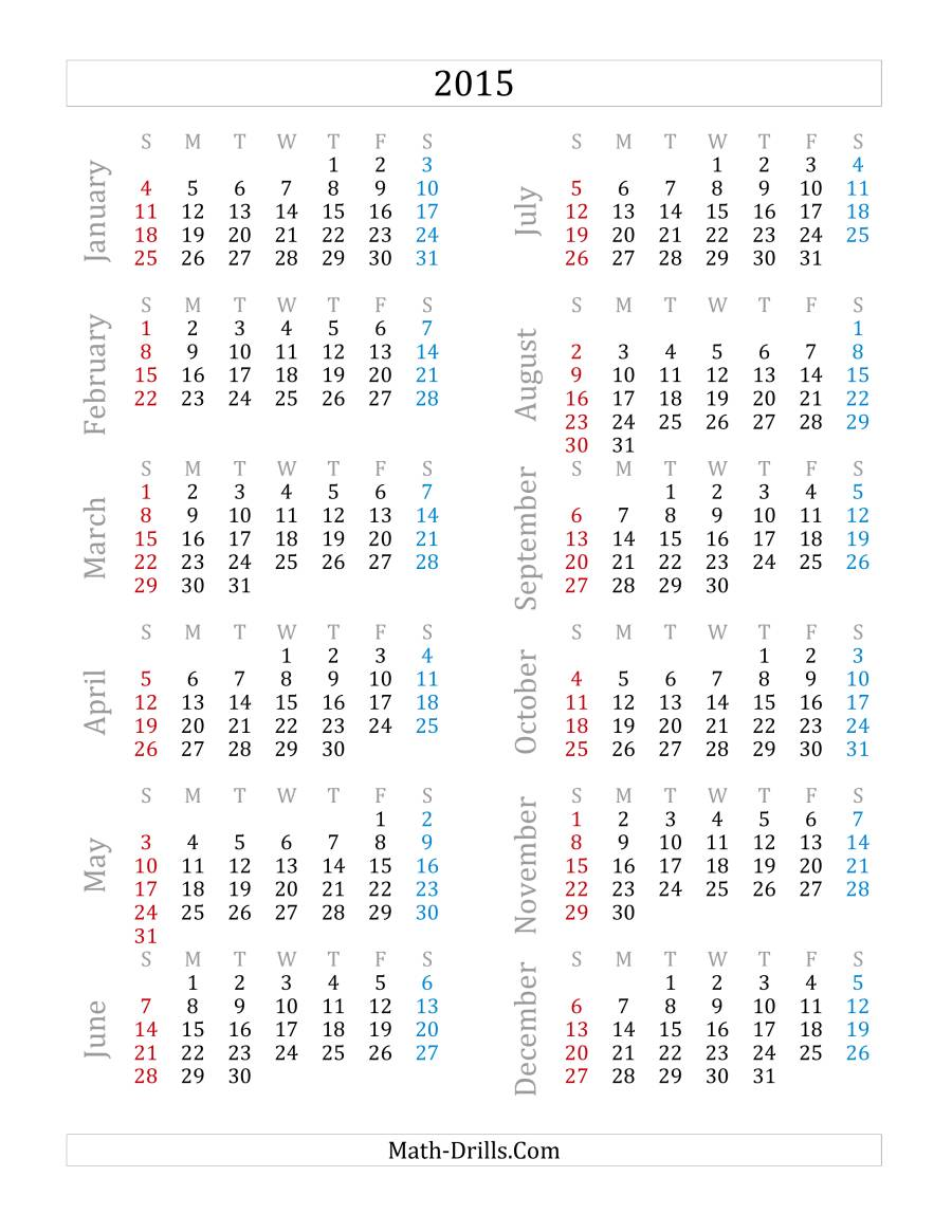 The 2015 Yearly Calendar (A) Measurement Worksheet. Full-size Image