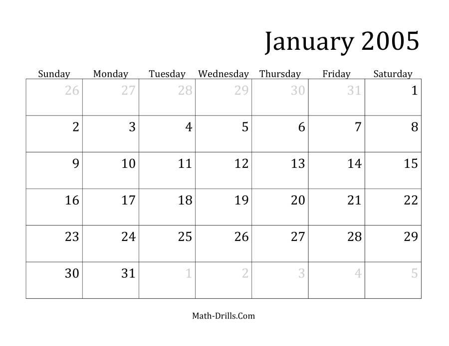 Uncategorized Math Calendar Worksheets 2005 monthly calendar more information